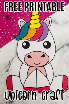 Looking for a fun DiY unicorn craft idea for kids? This easy unicorn craft is perfect for a unicorn theme birthday party or a fun rainy day craft. Click now to use the free printable unicorn template and make this this cute and simple unicorn craft! #unicorncrafts #unicorn #unicornparty Unicorn Birthday Parties, Unicorn Party, Birthday Party Themes, Unicorn Printables, Free Printables, Rainy Day Crafts, Unicorn Crafts, Art Activities For Kids, Cute Unicorn
