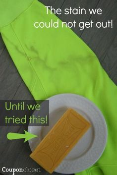 Fels Naptha is the best stain treatment and it is cheap. I love how we have all these new improved cleansers but good old fels naptha is what really gets it clean. Household Cleaning Tips, Cleaning Recipes, Cleaning Hacks, Cleaning Schedules, Household Cleaners, Soap Recipes, Car Cleaning, Deep Cleaning, Cleaning Supplies