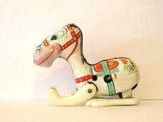 Vintage Mikuni Tin Toy Nice Litho White Circus Horse Japan