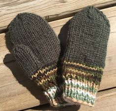 These are hand knit mittens. They are knit on four needles instead of two like most, making them seamless and comfortable. Traditionally knit mittens are knit on two needles and then sewn with a seem and the thumbs are both the same and only ironed over. These are actually knit as a right and a left with opposing thumbs and have no seam. These mittens are knit with a soft acrylic yarn in green and multi. They are ideal fro small outings and shopping trips.  These mitts make an excellent gift ... Knit Mittens, Knitted Hats, Toddler Mittens, Hand Knitting, Trips, Sewing, Green, Gifts, Shopping