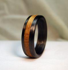 Kentucky Black Walnut Wood Turquoise Inlay Titanium Wedding Band Or Unique Gift Ring Stylized