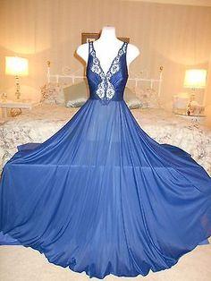 "Vintage OLGA Midnight Blue Bodysilk FULL 240"" SWEEP NIGHTGOWN & PEIGNOIR Set"