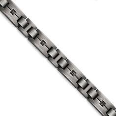 Chisel Versil Stainless Steel Black Diamond Bracelet