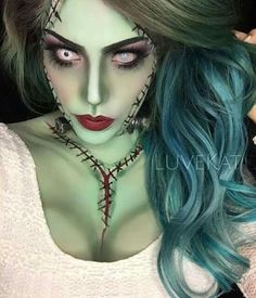 « FRANKENBABE ✌️USED, white cream makeup mixed with Green eye shadow for base to cover face and body Stack eye… Barbie Makeup, Sfx Makeup, Costume Makeup, Amazing Halloween Makeup, Halloween Looks, Halloween Face Makeup, Halloween Costumes, Halloween Inspo, Halloween Office