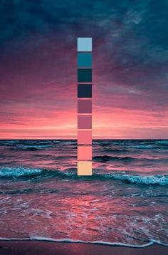 Sonnenuntergang am Meer // Farbschema // Meer, Wellen, rosa Sonnenuntergang Sunset at the sea // color scheme // sea, waves, pink sunset Colour Pallette, Colour Schemes, Sunset Color Palette, Sunset Colors, Color Combos, Maroon Color Palette, Lavender Color Scheme, Beach Color Schemes, Summer Color Palettes