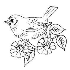 embroidery vintage birds