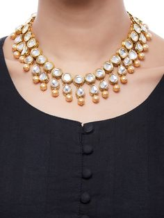 Pearl Gold Plated Kundan Choker Necklace