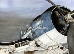 """""""Corsair ~ Military Aircraft"""" by Shari Nees, Milford, VA // I put the finishing touches on this old Corsair just this morning. It is sitting on a dirt run away with an ominious sky in the back ground. I have used my favorite 140lb hot press paper, Watercolor pencil and Ink. // Imagekind.com -- Buy stunning, museum-quality fine art prints, framed prints, and canvas prints directly from independent working artists and photographers."""