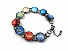 Planets Charm Bracelet in Antique Copper Finish 9 Planet Images Sci Fi Galaxy Jewelry *** Click image to review more details.