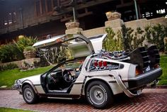 The specially made delorean from the back to the future trilogy
