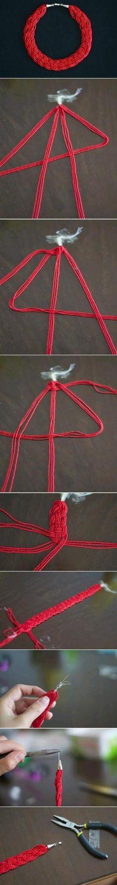 DIY braided bead necklace by batjas88