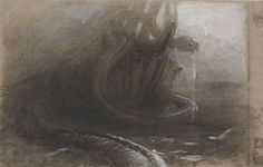 Arthur Quartley (American, b. France, 1839-1886) The Sea Serpent as Seen by the Marine, 1882 Charcoal and gouache on paper, 11-3/4 x 18-1/4 in. Titled, verso: The Sea Serpent. Gift of the Baker/Pisano Collection.  2001.9.203