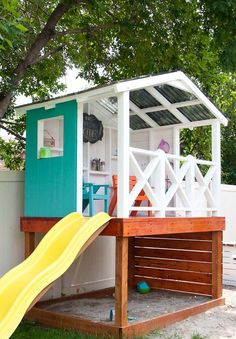 Learn how to build a wooden outdoor playhouse for the kids. This DIY playhouse h… Learn how to build a wooden outdoor playhouse for the kids. This DIY playhouse has it all: sandbox, climbing wall, slide and clubhouse! Wooden Outdoor Playhouse, Backyard Playhouse, Build A Playhouse, Playhouse Slide, Kids Playhouse Plans, Outdoor Forts, Kids Swingset Ideas, Playhouse Decor, Simple Playhouse