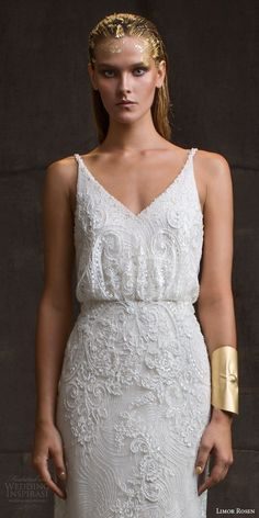 limor rosen bridal 2016 treasure sarina sleeveless lace wedding dress v neck straps blouson bodice close up beading