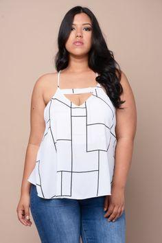 1de9cb833 Trapeze Peekaboo Cutout Camisole Trendy Plus Size Clothing