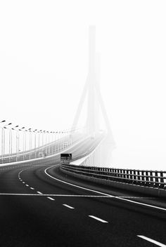 Cable-stayed section of Donghai Bridge as seen Yangshan direction Monochrome Photography, Black And White Photography, Street Photography, Landscape Photography, Art Photography, Photo Black, Black And White Pictures, Photocollage, Belle Photo