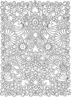 Dover Publications Dream Doodles Sample Page / Free adult coloring page which includes hidden pics / Free to print Coloring Pages For Grown Ups, Heart Coloring Pages, Printable Coloring Pages, Coloring Pages For Kids, Dover Coloring Pages, Doodle Coloring, Mandala Coloring, Coloring Sheets, Coloring Books