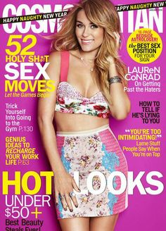 Who made  Lauren Conrad's floral pink top and blue lace skirt that she wore on the cover of Cosmopolitan magazine?
