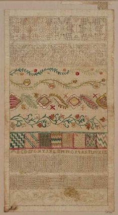 Mexico, 19th century sampler, linen, embroidered with silk and linen