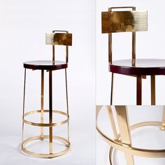 Dimensions: high seat, 43 overall height, diameter round wooden seat Bar Stool - Polished Brass :: GER Architectural Manufacturing, Inc. Brass Bar Stools, Counter Bar Stools, Modern Bar Stools, Modern Chairs, Industrial Dining Chairs, Metal Chairs, Bar Chairs, Ikea Dining, High Chairs