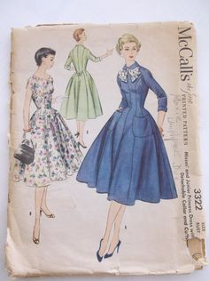 Complete pattern and instructions for awesome retro dress from the 1950s. The pattern has been cut; all pieces are present. The envelope is torn.