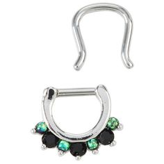 Hot Topic Steel Black & Green Gem Septum Clicker & Retainer 2 Pack (£12) ❤ liked on Polyvore featuring jewelry, earrings, green gem earrings, gemstone jewellery, steel jewelry, gem jewelry and steel earrings