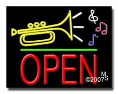 """Music logo Open Neon Sign - Block Text - 24""""x31""""-ANS1500-5838-1g  31"""" Wide x 24"""" Tall x 3"""" Deep  Sign is mounted on an unbreakable black or clear Lexan backing  Top and bottom protective sides  110 volt U.L. listed transformer fits into a standard outlet  Hanging hardware & chain included  6' Power cord with standard transformer  Includes 2nd transformer for independent OPEN section control  For indoor use only  1 Year Warranty on electrical components."""