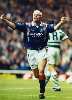 28TH SEPT 1996, PAUL GASCOIGNE CELEBRATES SCORING RANGERS SECOND GOAL AGAINST CELTIC AT IBROX STADIUM, ROB CASEY PHOTOGRAPHY (ROB CASEY/ROB CASEY PHOTOGRAPHY)