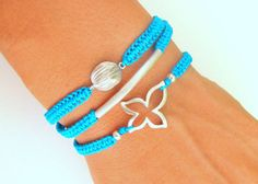 Bohemian Bracelet Stack with Silver Metal Connector Silver Beads Turquoise Thread - Three Macrame Bracelets on Wanelo