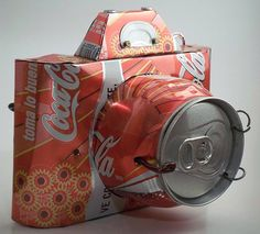Awesome recycled art coke can becomes camera!