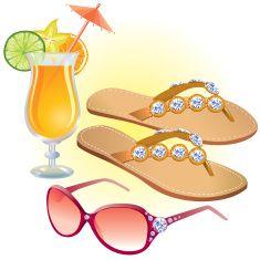 Beach accessories vector art illustration