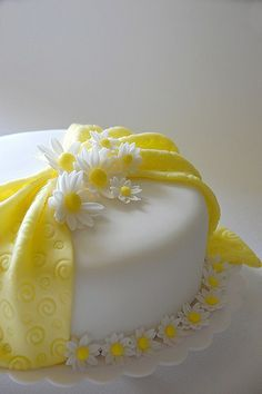 Yellow Birthday Cake using almond and coconut