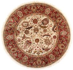 Agra Hand-Knotted Round Wool Rug (6'x6')