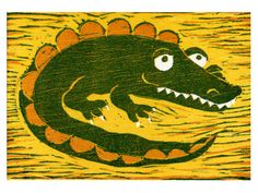 Gilbert the Croc - Original, reduction woodcut print by Francesca Whetnall on Etsy