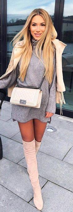 791a76a4ed41ce #winter #outfits grey long-sleeve mini dress Cozy Winter Outfits, Spring  Outfits