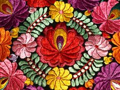 Traditional Hungarian Silk Matyo Floral by TheMightyCat on Etsy