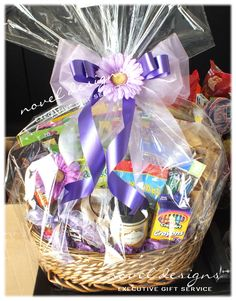 Teacher Appreciation Gift Basket Filled w/Her Favorite Things & Needs Like Assrt. School Supplies for Classroom, Scrapbooking Materials, Favorite Snacks, Candles & More.  Decorated w/Favorite Color (Purple) Bow.
