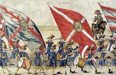 Rulon polski, ok. 1606r. - fragment - Milicje cechów krakowskich. Gwasz na…