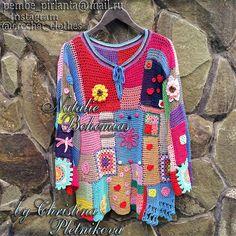 Gehäkelte Tunika Bluse Pullover Gypsy Boho Freeform Patchwork