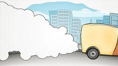 654b70670ba30 Cartoon car driving at street and making air pollution. Free Stock VideoAir  ...