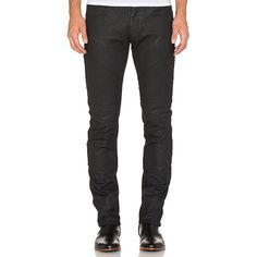 VERSACE Moto Denim Denim (555 CAD) ❤ liked on Polyvore featuring men's fashion, men's clothing, men's jeans and jeans