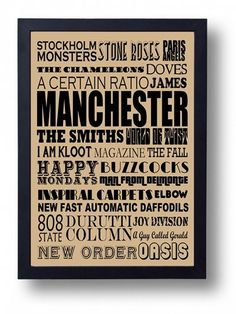 Manchester Musical Heritage Typography Wall Art by indieprints, $15.00 - I really want this!