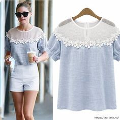womens tops fashion 2014 Summer Short Sleeve Hollow Out Lace blouse Casual Floral Women shirt _ {categoryName} - AliExpress Mobile Top Fashion, Womens Fashion, Diy Clothes, Clothes For Women, Summer Outfits, Casual Outfits, Diy Kleidung, Mode Top, Mode Inspiration