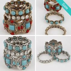 """Stacked Ornate Boho Bracelets - Very uniqueBoho Style Silver and Blue or Multi Colored. Description: * Thick Multi Designed Cuff Bracelet With Rhinestones And Stones, * 2.4"""" x 2.4"""" x 1.5"""" approx. - On Sale for $32.00 (was $49.00)"""
