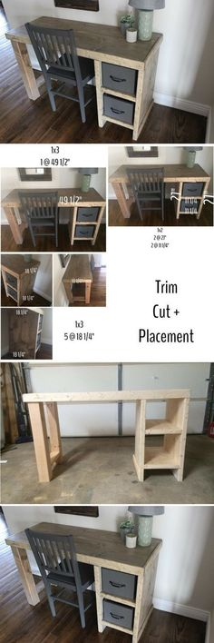 Plans of Woodworking Diy Projects - diy desk plans simple how to build tutorial for home offices kids study areas mom desktops computer. We also sharing woodworking rustic projects also with drawers Get A Lifetime Of Project Ideas & Inspiration! Diy Office Desk, Home Office Desks, Diy Desk, Desk Plans Diy, Office Decor, Office Ideas, Office Free, Small Office, Furniture Projects