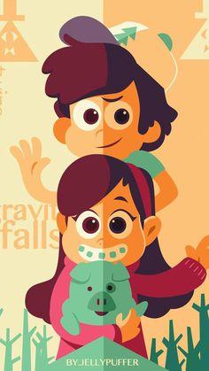 Dipper, Mabel, and Waddles Dipper Et Mabel, Mabel Pines, Dipper Pines, Fall Wallpaper, Disney Wallpaper, Desenhos Gravity Falls, Gravity Falls Art, Gravity Falls Poster, Reverse Falls