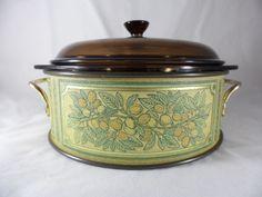Pyrex 2 Qt. Casserole Dish 024 Amber W/Metal Tin Carrier 624 Vintage EUC #Pyrex