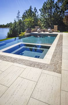 This backyard landscape design is inspired by our Travertina Raw patio slab. The Travertina Raw pati Terrace Garden, Garden Pool, Backyard Patio Designs, Backyard Landscaping, Pool Colors, Patio Slabs, Outdoor Water Features, Outdoor Steps, Pool Coping