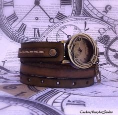 Antique Brown Wrap Watch, Womens leather watch, Bracelet Watch, Wrist Watch, Gift for her, Cat Watch