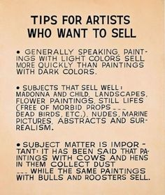 tips for artists who want to sell. by John Baldessari, 1966-68
